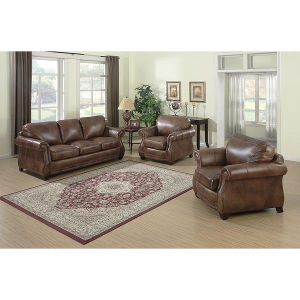 Terrific Shop Sterling Cognac Brown Italian Leather Sofa And Two Creativecarmelina Interior Chair Design Creativecarmelinacom