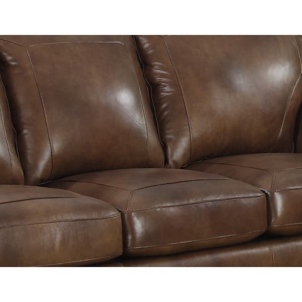 Strange Shop Sterling Cognac Brown Italian Leather Sofa And Two Pabps2019 Chair Design Images Pabps2019Com