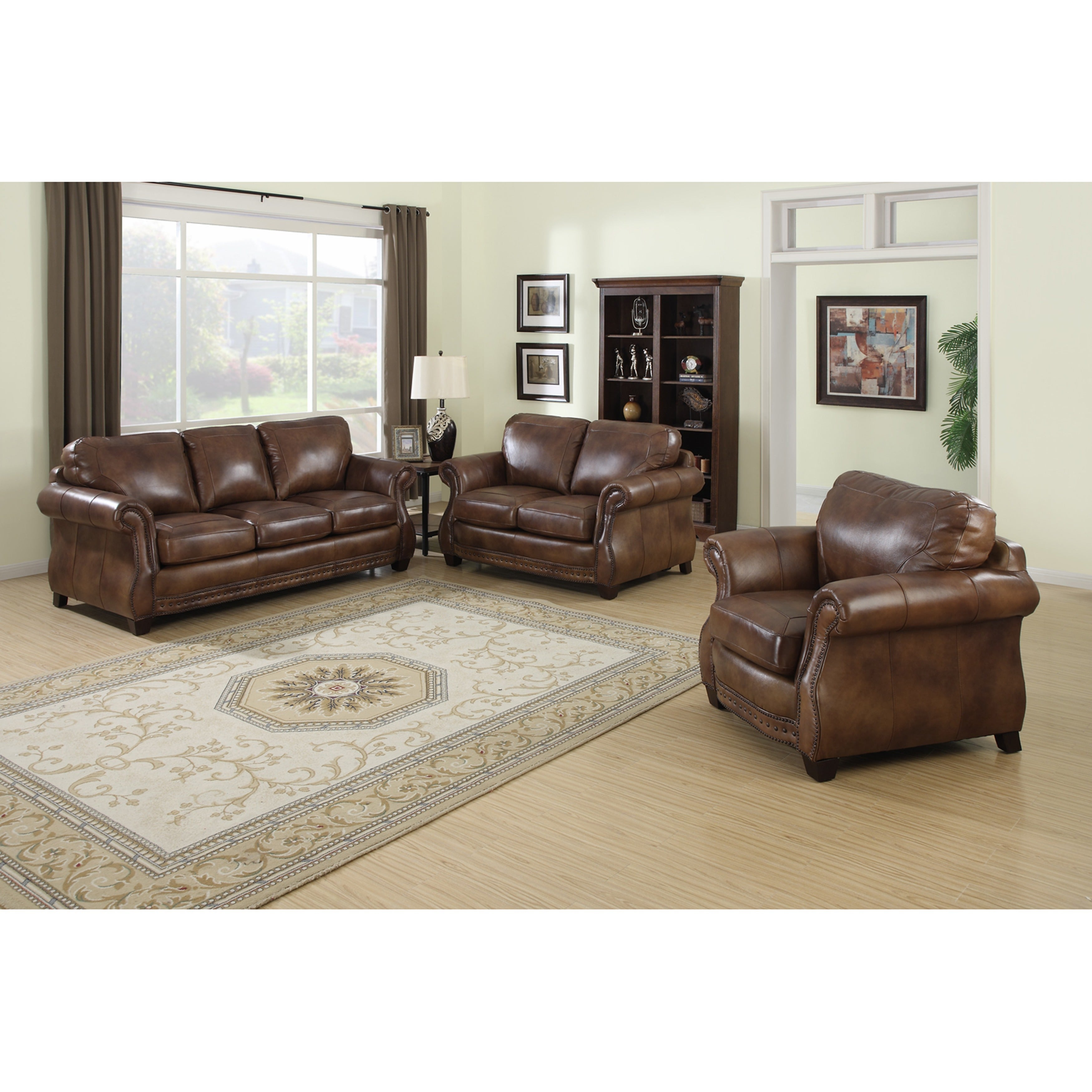 Picture of: Sterling Cognac Brown Italian Leather Sofa Loveseat And Chair On Sale Overstock 6237564