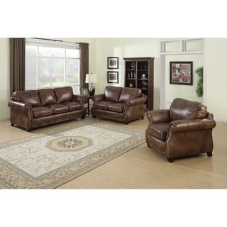 Link to Sterling Cognac Brown Italian Leather Sofa, Loveseat and Chair Similar Items in Living Room Furniture Sets