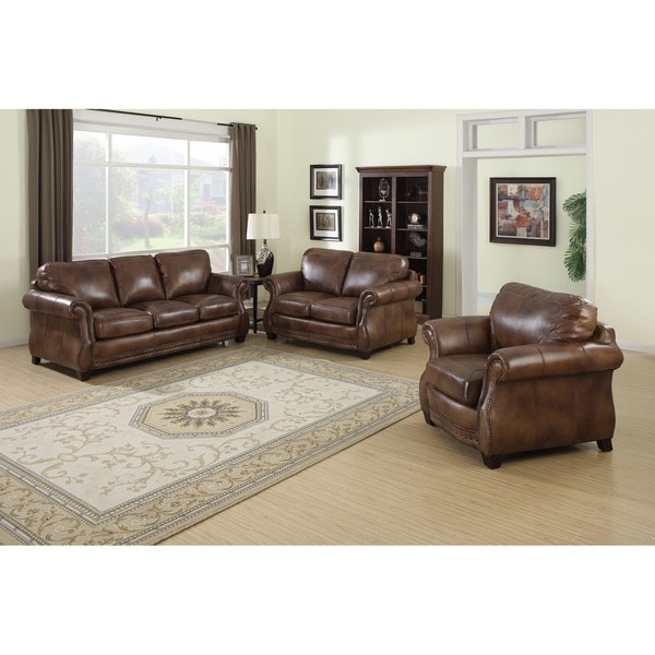 Sterling cognac brown italian leather sofa loveseat and for Living room furniture 0 finance