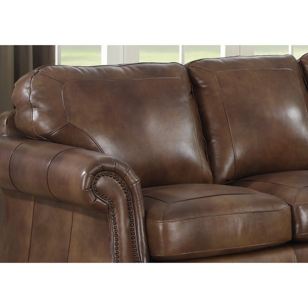 Sterling Cognac Brown Italian Leather Sofa, Loveseat And Chair   Free  Shipping Today   Overstock.com   13878629