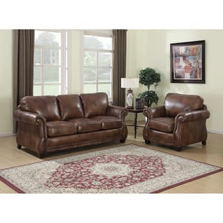 rustic living room chairs. Sterling Cognac Brown Italian Leather Sofa and Chair Rustic Living Room Furniture Sets For Less  Overstock com