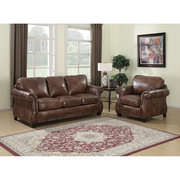 Shop Sterling Cognac Brown Italian Leather Sofa And Chair On Sale