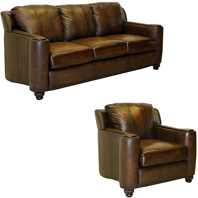 Sedona Hand Rubbed Brown Italian Leather Sofa And Chair