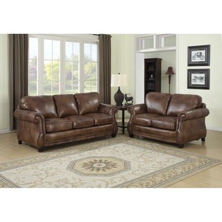 Exceptionnel Sterling Cognac Brown Italian Leather Sofa And Loveseat