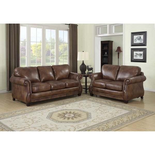 Ital Leather Sofa: Shop Sterling Cognac Brown Italian Leather Sofa And
