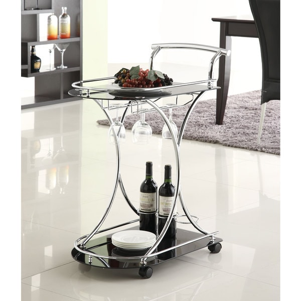 Black/ Chrome Modern Bar Cart