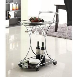 Black/ Chrome Modern Bar Cart