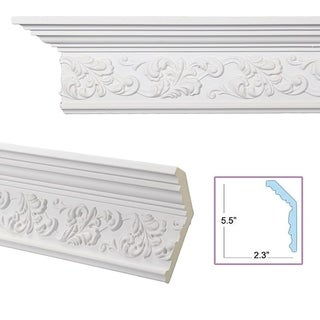 Scrolling Leaf 6-inch Crown Molding (8 pieces)