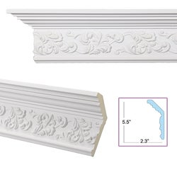 Scrolling Leaf 6-inch Crown Molding
