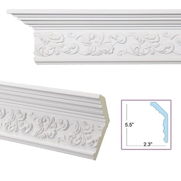 Scrolling leaf 6 inch crown molding pack of 8 free for 9 inch crown molding