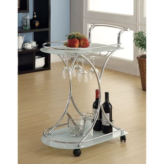 "White Glass/ Chrome Modern Bar Cart - 26.50"" x 15.75"" x 33.75"
