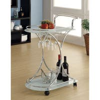 White Glass/ Chrome Modern Bar Cart
