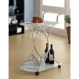 White Glass/ Chrome Modern Bar Cart