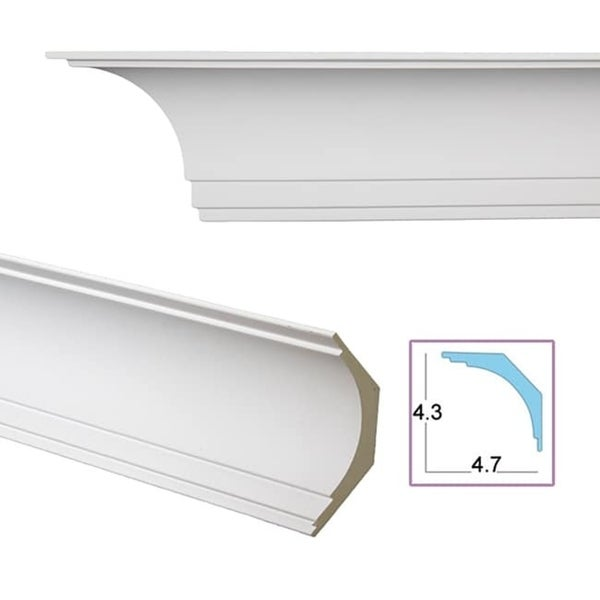 Shop Smooth Cove 6 4 Inch Crown Molding Pack Of 8 Free Shipping