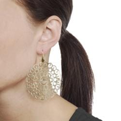Journee Collection  Goldplated Sterling Silver Ornate Earrings - Thumbnail 2