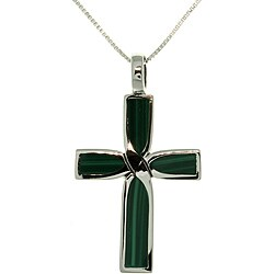 Sterling Silver Malachite Celtic Cross Inlay Necklace