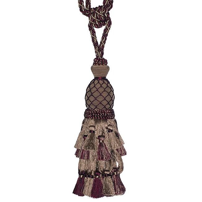 Exclusive Fabrics Taupe/ Maroon Designer Tassel Tiebacks (Set of 2)