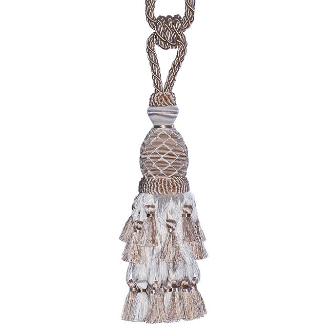 Exclusive Fabrics White/ Beige Designer Tassel Tiebacks (Set of 2)