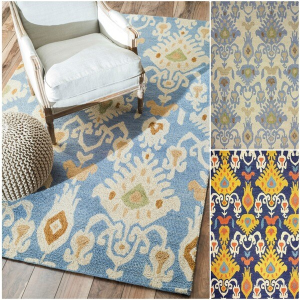 nuLOOM Handmade Ikat Wool Rug - 7'6 x 9'6