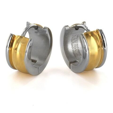 Two Tone Gold Plated Stainless Steel Earrings - White