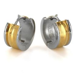 Twotone Goldplated Stainless Steel Earrings