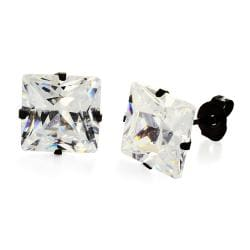 Stainless Steel 10 mm Cubic Zirconia Stud Earrings