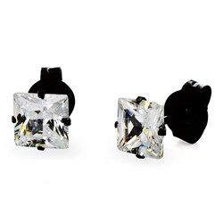 Stainless Steel Cubic Zirconia Stud Earrings (4mm) - Black