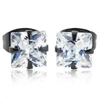 Stainless Steel Men's Cubic Zirconia Stud Earrings (5mm) - Black