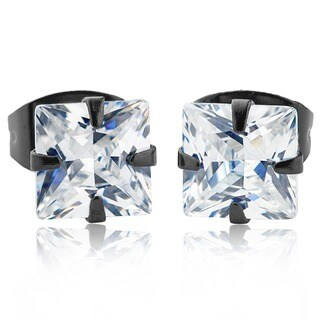 Stainless Steel Men's Cubic Zirconia Stud Earrings