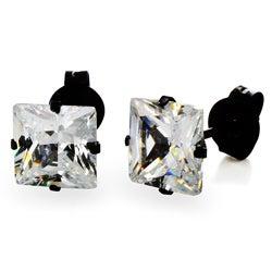 Stainless Steel 6 mm Cubic Zirconia Stud Earrings