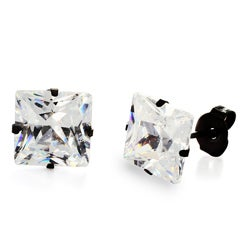 Stainless Steel Cubic Zirconia Stud Earrings (8mm) - Black