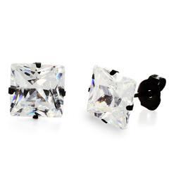 Stainless Steel Cubic Zirconia Stud Earrings 8mm Black