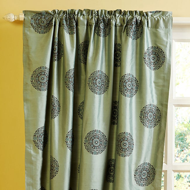 Teal Medallion Dupioni Silk 96-inch Curtain Panel