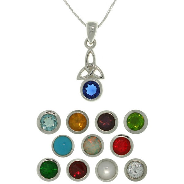 Sterling Silver Celtic Birthstone Necklace. Opens flyout.