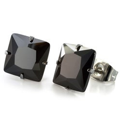 Stainless Steel Black Cubic Zirconia Earrings (8mm) - White