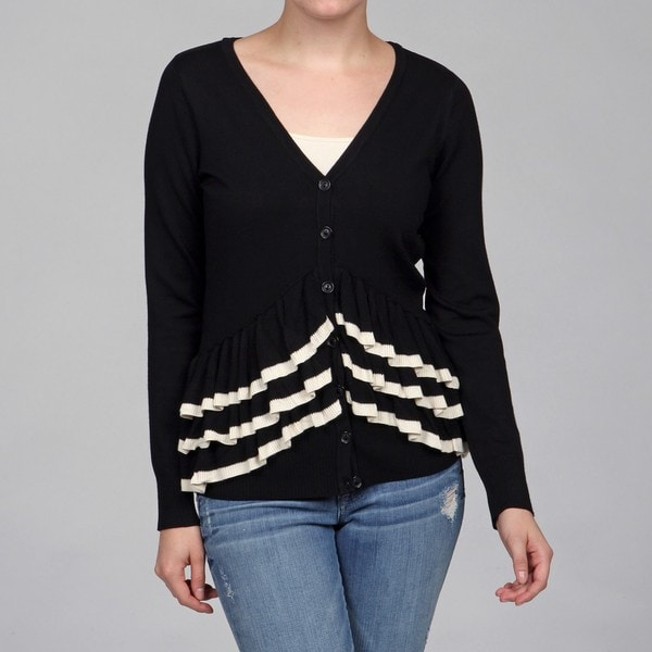 Red Women's Black/ Moth Ruffle Detail Cardigan
