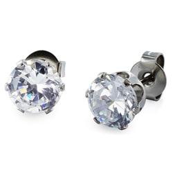 West Coast Jewelry Stainless Steel 5 mm Cubic Zirconia Stud Earrings