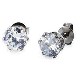 Stainless Steel Cubic Zirconia Stud Earrings (5mm) - White