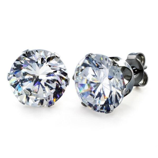West Coast Jewelry Stainless Steel 10 mm Cubic Zirconia Stud Earrings