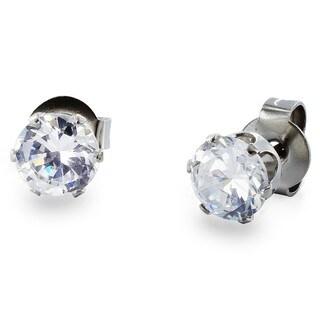 West Coast Jewelry Stainless Steel 3 mm Cubic Zirconia Stud Earrings