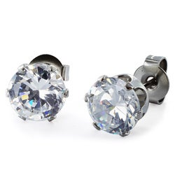 West Coast Jewelry Stainless Steel 6 mm Cubic Zirconia Stud Earrings