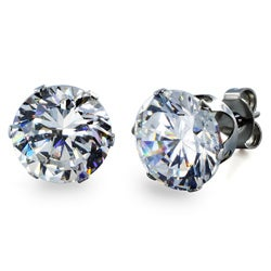 West Coast Jewelry Stainless Steel 9 mm Cubic Zirconia Stud Earrings