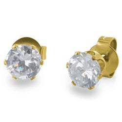 Gold Plated Stainless Steel Cubic Zirconia Stud Earrings (3mm) - White