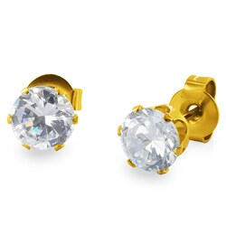 Gold Plated Stainless Steel Cubic Zirconia Stud Earrings (4mm) - White