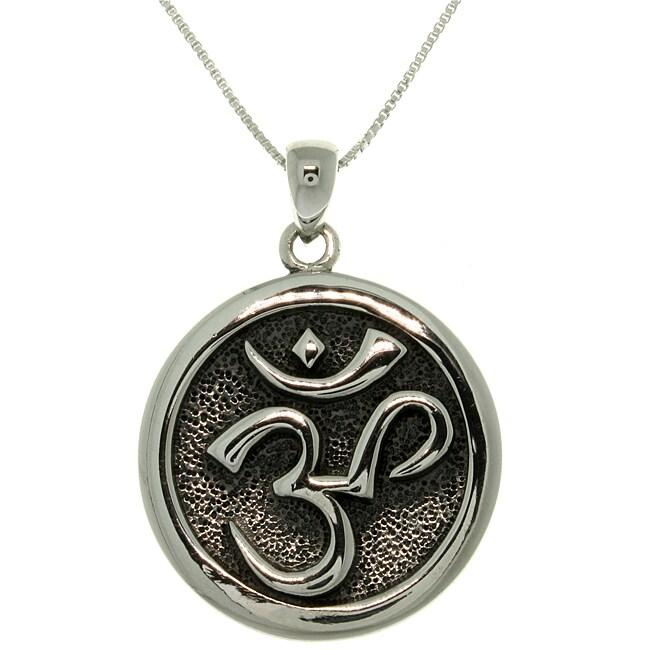 Carolina Glamour Collection Sterling Silver 'Om' Meditation Necklace