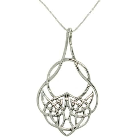 Sterling Silver Celtic Teardrop Knot Necklace