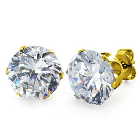 Gold Plated Steel Cubic Zirconia Stud Earrings (10mm) - White