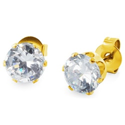 West Coast Jewelry Goldplated Steel 5 mm Cubic Zirconia Stud Earrings